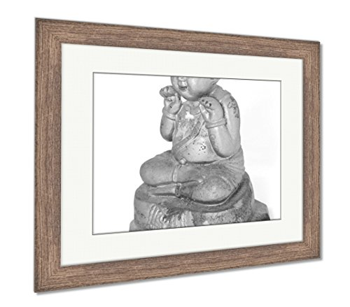 Ashley Framed Prints Kids Mascot Statue Help Lucrative Trade Belief In Thailand, Wall Art Home Decoration, Black/White, 30x35 (frame size), Rustic Barn Wood Frame, AG4731398