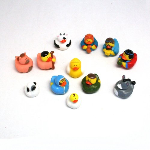 One Dozen (12) Rubber Duckie Ducky Duck Christmas Nativity Scene