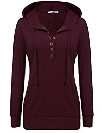 Meaneor Women Long Sleeve Pullover V Neck Vintage Button Tunic Sweatshirt Hoodie