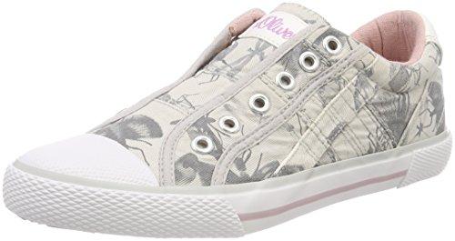 s.Oliver Mädchen 54107 Slip On Sneaker grau (grey FLOWER)