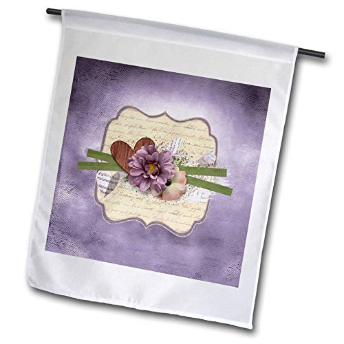 3dRose Beverly Turner Flora Design - Image of Wooden Heart, Ribbon, Purple and Yellow Flowers on Tag - 12 x 18 inch Garden Flag (fl_304971_1)