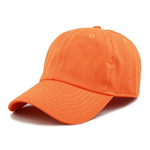 The Hat Depot 300N Washed Cotton Low Profile Baseball Cap (Orange) -