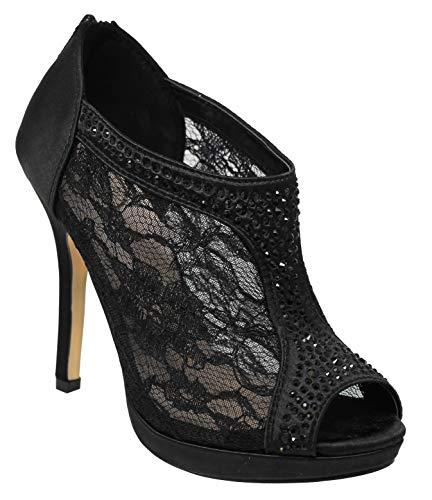 MVE Shoes Women's Lace Bridal High Heel Platform Peep Toe Shootie - Satin Lace Open Toe Cover Dress Pump - Lace High Heel Shootie with Flatback Crystals Black 10