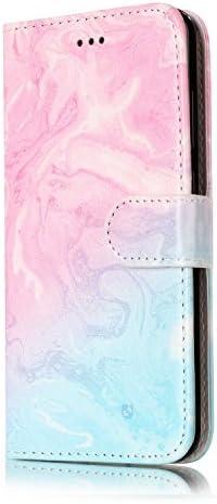 OMATENTI Huawei P10 Lite ケース, 簡約風 軽量 良質 PU レザー 財布型 カバー ケース, 人気カバー 衝撃吸収 液晶保護, カード収納 横置きスタンド機能付き マグネット Huawei P10 Lite 用 Case Cover, ピンクと青い