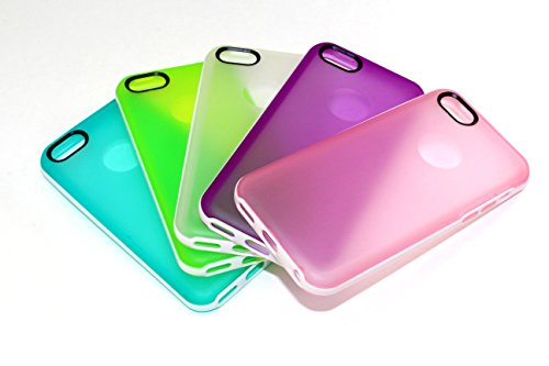 iPhone 5C Case, Wholesale 5pcs/lot 5 Colors White Platic Trim Soft Clear Gel Back Cover Bumper Case Skin for iPhone 5C (Teal, White, Green, Purple, Pink) from EZstation