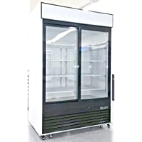 55 Refrigerator Double Glass Door Reach-in Commercial Grade Restaurant - 45 Cu. Ft. - Auto Defrost - Digital Control - 8 Adjustable Shelves - MCF8709
