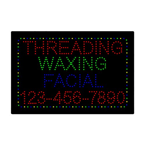 (LED Eyebrow Threading Facial Waxing Open Light Sign Super Bright Electric Advertising Display Board for Eyelash Extension Business Shop Store Window Bedroom 24 x 16)