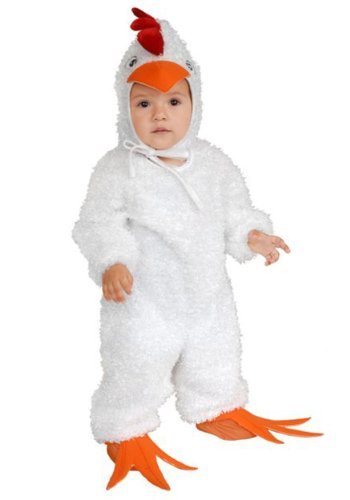 Rooster Feet Costume (Charades Child's Little Chicken Costume Plush, White, Medium)