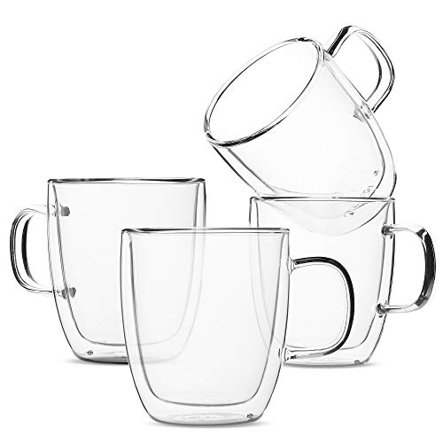 BTT- Insulated Coffee Mugs, Glass Tea Mugs, Set of 4 (12 oz, 350 ml), Double Wall Glass Coffee Cups, Tea Cups, Latte Cups, Glass Coffee Mug, Beer Glasses, Latte Mug, Clear Mugs, Glass Cappuccino Cups