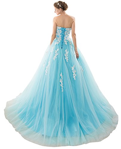 Women's Beautyfudre Bodice Strapless Gown Ball Dress Blue Quinceanera Appliques Tdt7txq