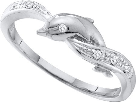 0.04ctw Round Diamond Dolphin Engagement Ring