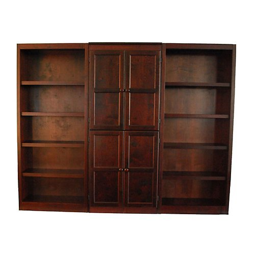 Overstock Concepts in Wood WKT3072 3-Piece Wall and Storage System, 15 Shelves Cherry Finish
