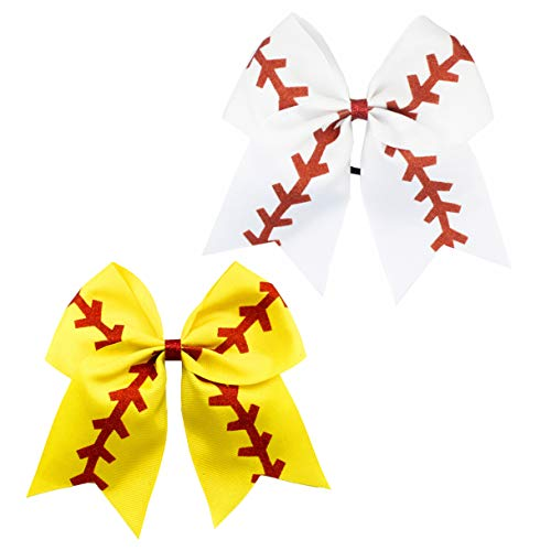 Girls Cheerleader Jumbo Bow Ponytail Holder Hairbow Girl Teen Hair Accessories JB81 (A-White Yellow)