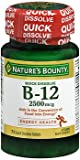 Nature's Bounty B-12 2500 mcg Supplement Quick Dissolve Natural Cherry Flavor - 75 Tablets, Pack of 6