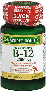 Nature's Bounty B-12 2500 mcg Supplement Quick Dissolve Natural Cherry Flavor - 75 Tablets, Pack of 6 by Nature's Bounty