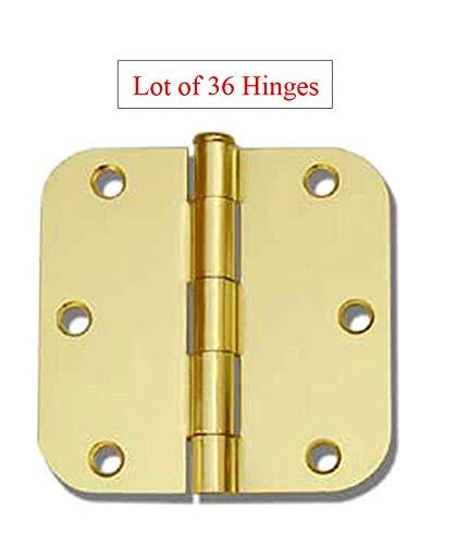 (36 Pack Polished Brass 3.5' x 3.5' 5/8 Radius Round Corner Interior Door Hinges)