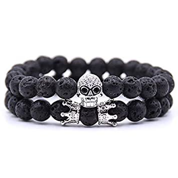 HYMWAN Punk Charm Bracelet Grey Lava Stone Beads Crown Yoga ...