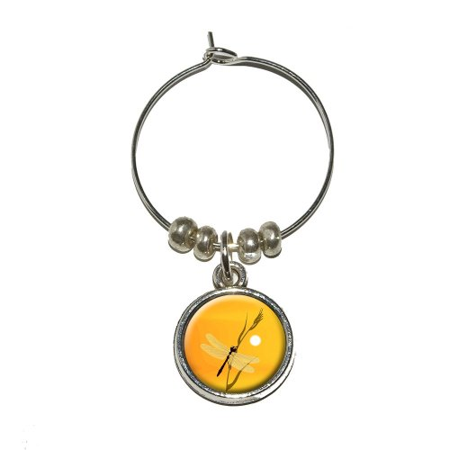 Graphics and More Dragonfly - Dragon Fly Yellow Wine Glass Charm Drink Stem Marker Ring (Dragonfly Wine Rack compare prices)