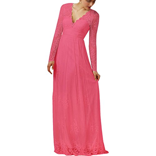 Women's Sleeves Lace Long Dress Elegant Coral Bridesmaid Beach Amore Bridal Wedding 51TAqxw61