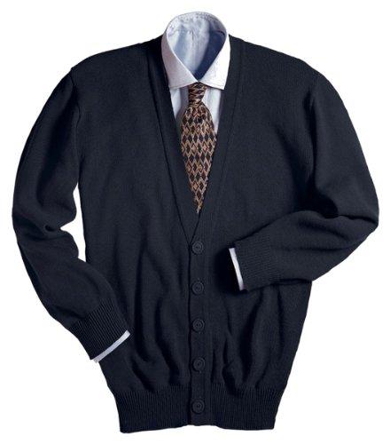 Edwards V-Neck Button Acrylic Cardigan Sweater 5XL Black