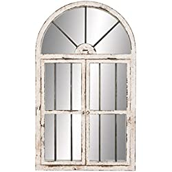 "Deco 79 74397 Wood Window Mirror 42""H, 25""W -"