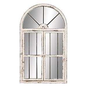 "Deco 79 74397 Wood Window Mirror 42""H, 25""W -"