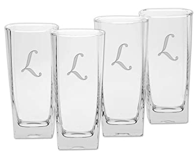 Culver Deep Etched Double Old Fashioned Glass, 13-Ounce, Monogrammed Letter-I, Set of 4