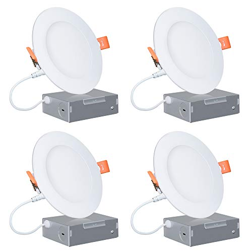 4-Inch Slim LED Recessed Lighting, Wet Location Rated 11W 750LM 3000K Soft White Dimmable 120V 65W Eqv. ETL and Energy Star Certified Retrofit Can-Killer Downlights with Junction Box, 4 Pack (Wet Downlight Location)