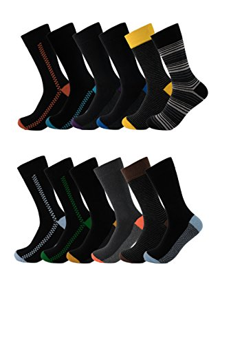 Mens Fun Socks 6 Pack Colorful Funky Patterned Dress Socks (10-13, Assorted) (Black Christmas Men 6-8)