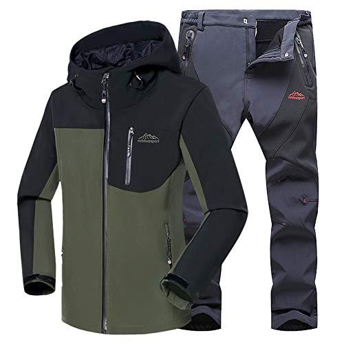 Montaña Chaqueta Softshell Softshell Verde Ejército Outdoor Pantalon WANPUL gris Montaña Transpirables Conjunto Chaqueta Pantalones Hombre zqwBy4