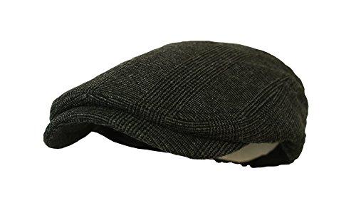 Newboy Caps Plaid Wool Flat Cap (L/XL, Plaid Black.White)