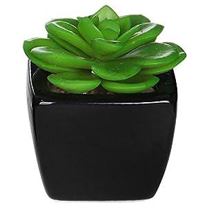 MyGift Set of 3 Modern Square Black Ceramic Artificial Succulent Planter/Mini Faux Potted Plants 5