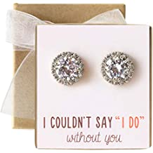 Bridesmaid Jewelry - Stud Post or Clip-on Earrings in Silver, Gold or Rose Gold