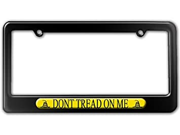 gadsden flag dont tread on me license plate tag frame color gloss black - Don T Tread On Me License Plate Frame
