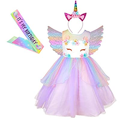 MHJY Girls Unicorn Dress Costume Festival Pageant Princess Party Rainbow Flower Dress with Headband: Clothing