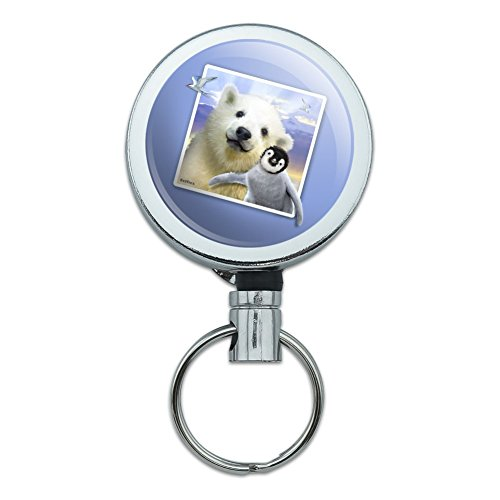 Polar Pals Selfie Picture Polar Bear Penguin Heavy Duty Metal Retractable Reel ID Badge Key Card Tag Holder with Belt Clip ()