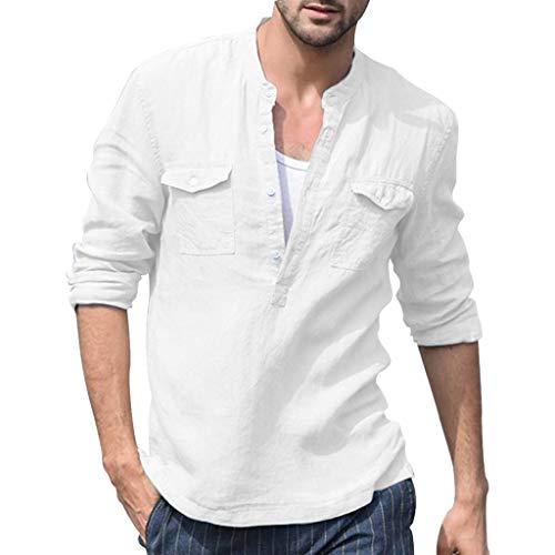 0ad96e2c932 Cardigo Mens Retro T Shirts Baggy Cotton Linen Pocket Solid Long Sleeve Tops  Blouse White