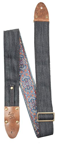 LM Products VD-NB Vintage Denim Guitar Strap, The Lexington