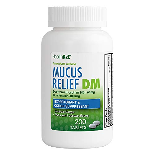 Health A2Z Mucus Releif, Dextromethorphan HBr 20mg Guaifenesin 400mg, 200 Count