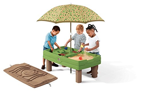 Step2 Naturally Playful Sand & Water Activity Center | Kids Sand & Water Table with Umbrella