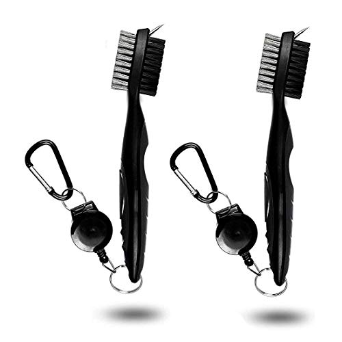 Golf Club Cleaning Brush and Groove Cleaner with Retractable Clip, Extends 2 ft Brass, Ergonomic Design, Easily Attaches to Golf Bag, Nylon and Spike Cleaning Tool ()