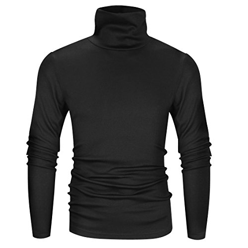 Derminpro Men's Thermal Turtleneck Soft Long Sleeve T-Shirt Black X-Large -