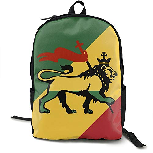 (Reggae Rasta Lion Fashion Lightweight Canvas Travel Backpack For Women &)