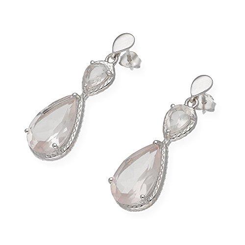 dc64978d847e En venta Pendientes de plata con cuatro cuarzos rosa en forma de pera