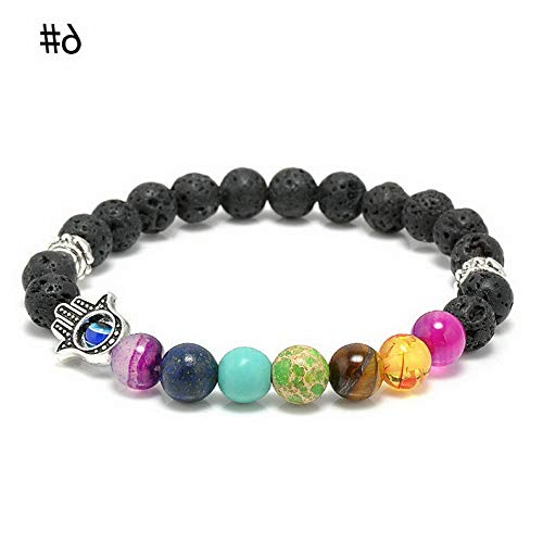 (Werrox Fashion Men Natural Stone Beaded Bracelet Lion Buddha Charm Bead Bangle Jewelry | Model BRCLT - 22217 |)