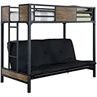 HOMES: Inside + Out ioHOMES Megyver Two over Level Industrial Twin Bunk Bed, Twin, Black
