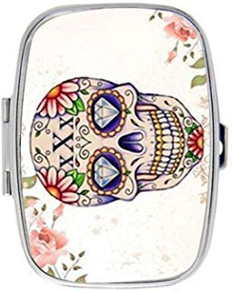 - Pink Floral Sugar Skull art Personalized Custom HOT Sale stainless steel Pill Case Box Medicine Organizer Gift Box