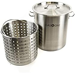 Gas One Fryer Pot 32 QT - All Purpose - Stainless Steel Tri Ply Bottom with All Purpose Pot Deep Fryer Steam and Boiling Basket