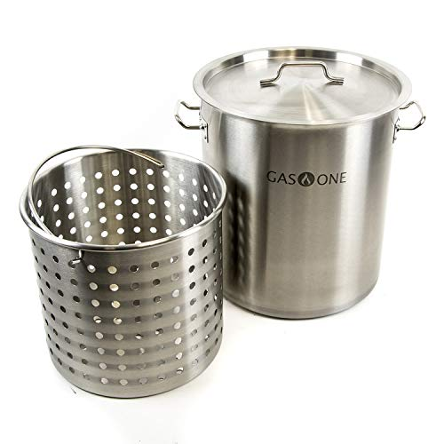 Gas One TP-32 32 QT Stainless Steel Tri Ply Bottom with All Purpose Pot Deep Fryer Steam and Boiling Basket, - Fryer Aluminum Deep 32 Qt