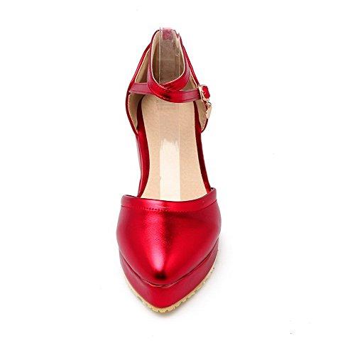 Colore A Medio Punta Assortito Rosso Ballerine Tirare Scarpe Luccichio VogueZone009 Tacco Donna ZROxUZ5